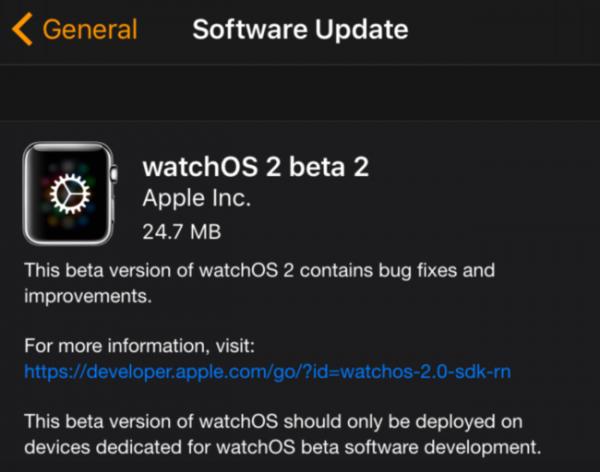 Segunda beta de watchOS 2
