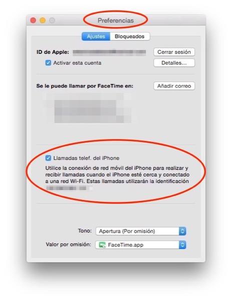Preferencias, FaceTime (Mac)
