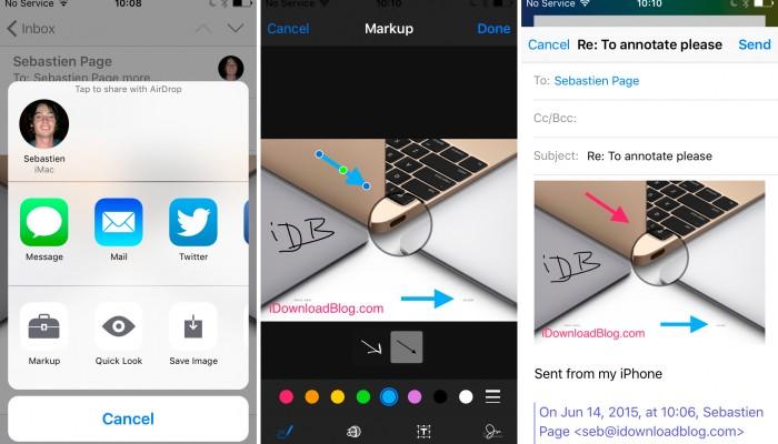 iOS 9 incluirá herramientas de marcación para archivos adjuntos