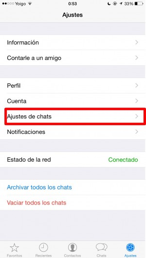 whatsapp ajustes