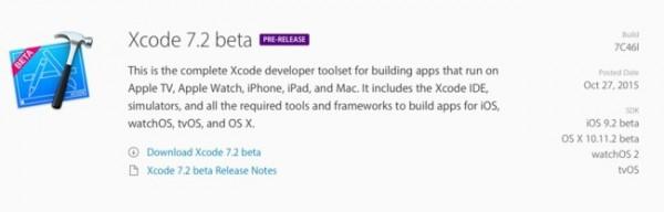 beta xcode 7.2
