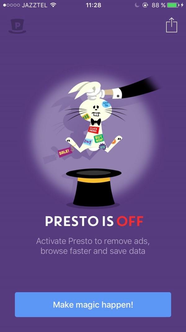 Presto is OFF