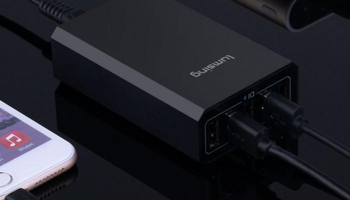 Cargador Lumsing con 5 puertos USB y carga rápida