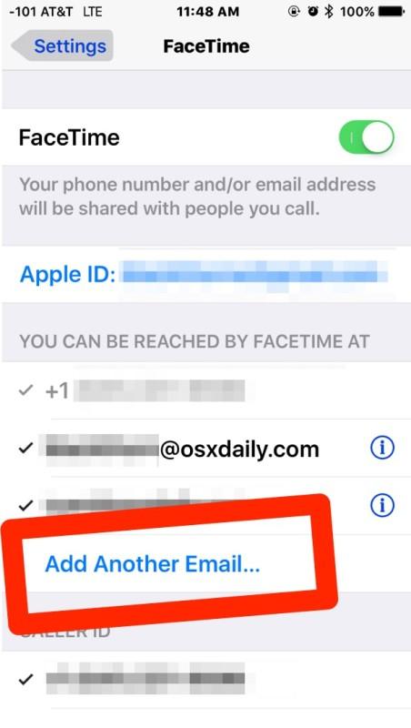 agregar email a facetime