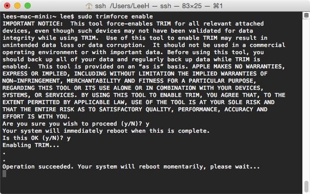 Habilita el TRIM en los SSD de terceros en OS X con trimforce