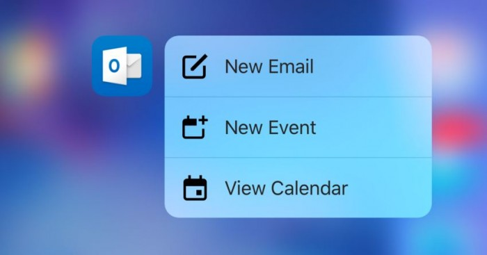 Microsoft Outlook para iOS se actualiza con 3D Touch