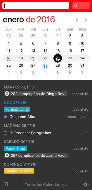 Fantastical 2 Mini ventana.