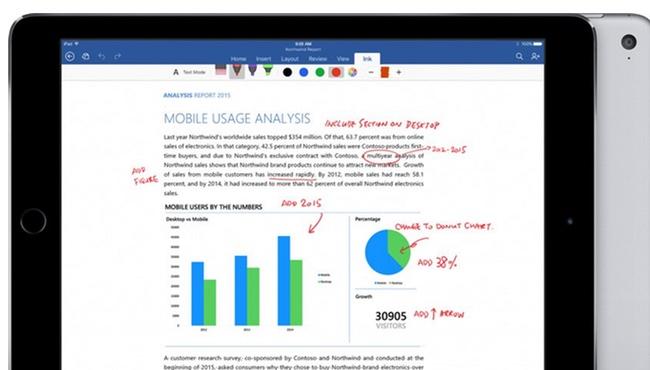 3D Touch y Apple Pencil en la suite de Office para el iPad Pro y el iPhone 6s