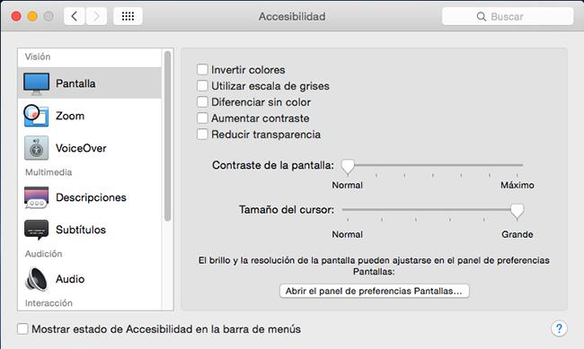 Accesibilidad pantalla