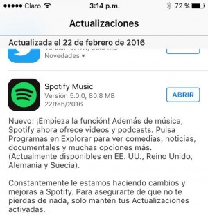 Spotify actualización