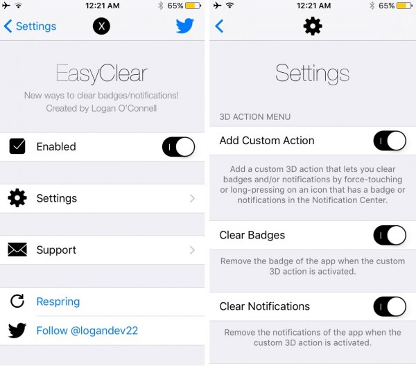 easyclear settings