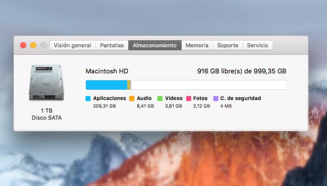 Cómo ganar más espacio libre en mac OS X El Capitán