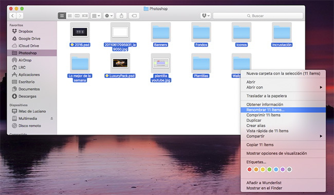 Cómo renombrar múltiples archivos en OS X El Capitan