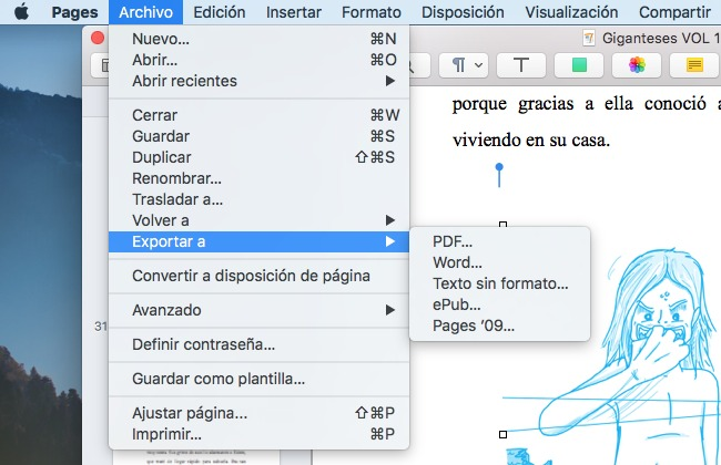 tutorial pages exportar mac os