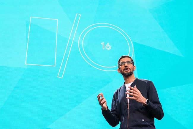 Sundar Pichai, CEO de Google exponiendo en Google I/O 2016