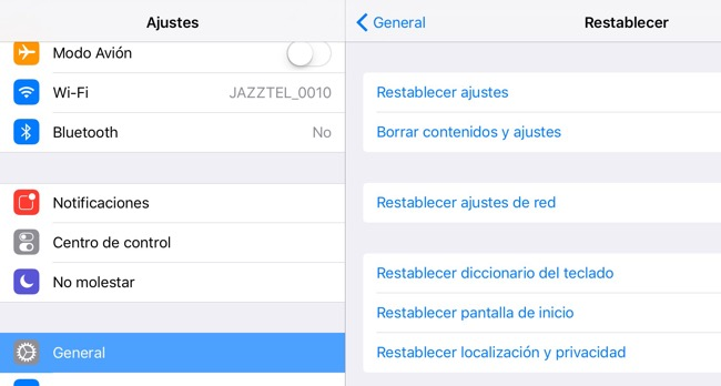 Ajustes restablecer iPhone, ipad