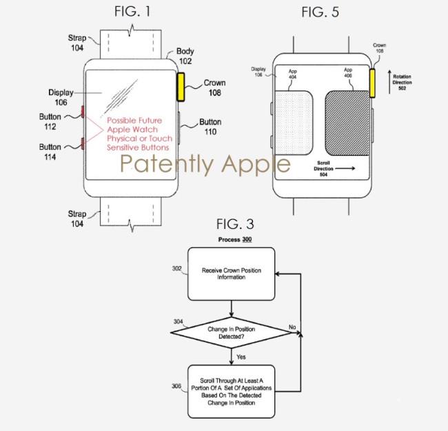 Patente de Apple indicando los dos nuevos botones laterales, imagen de Patently Apple