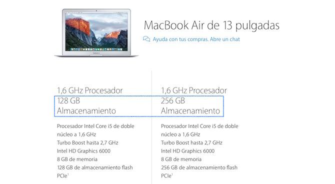 MacBook Air Almacenamiento