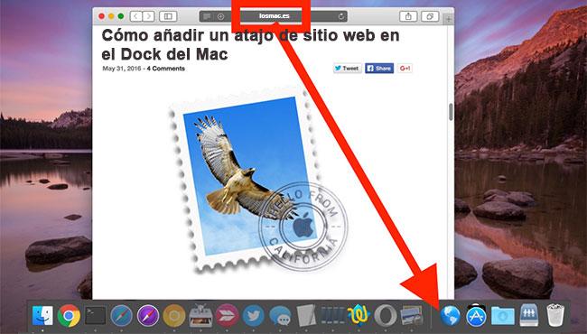 Como añadir un atajo de sitio web en el Dock del Mac