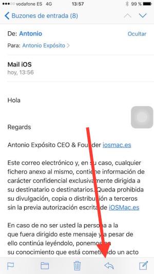 responder un correo desde iPhone de forma correcta