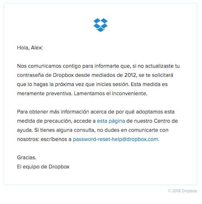 Mensaje que recibiremos en nuestro correo asociado a Dropbox