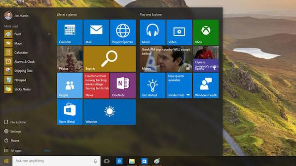 Interfaz en Windows 10