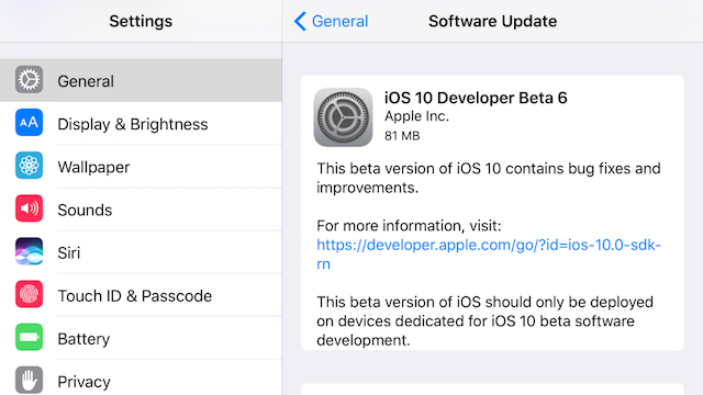 beta 6 de iOS 10