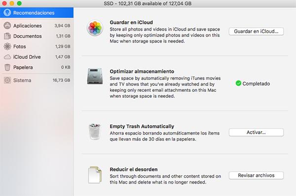 optimizacion disco macOS Sierra