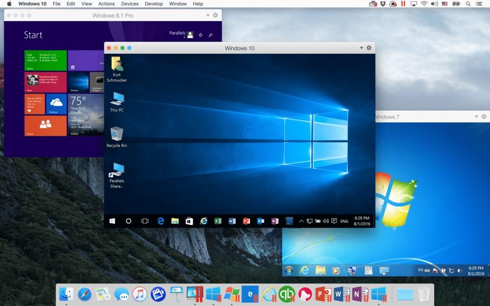 Interfaz de Parallels Desktop corriendo en macOS Sierra