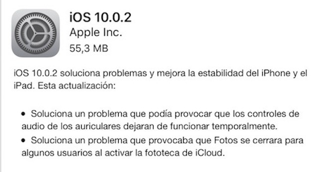 iOS 10.0.2 disponible para su descarga