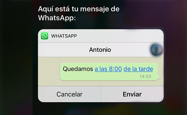 WhatsApp para iOS 10 incluye integración total con Siri.
