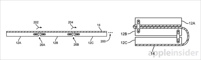 Patente iPhone flexible. Imagen de AppleInsider.