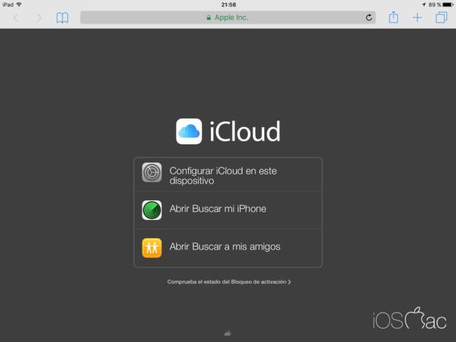 Página principal de iCloud para iPad