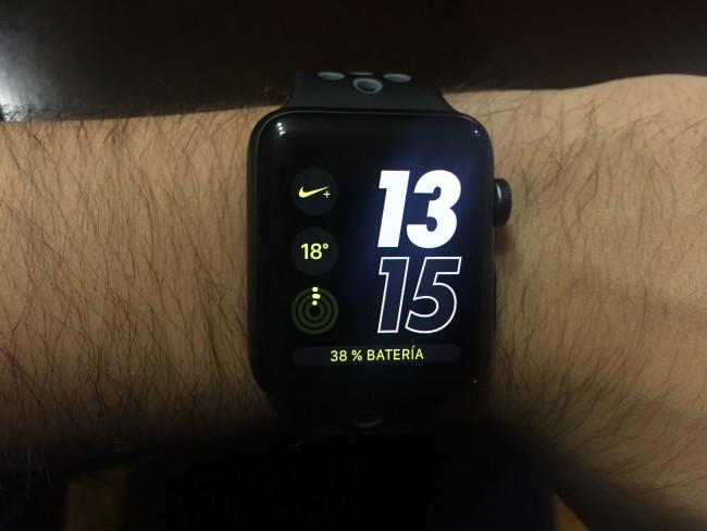 Esta es una de las múltiples combinaciones de las esferas exclusivas que incorpora en Apple Watch Nike +.