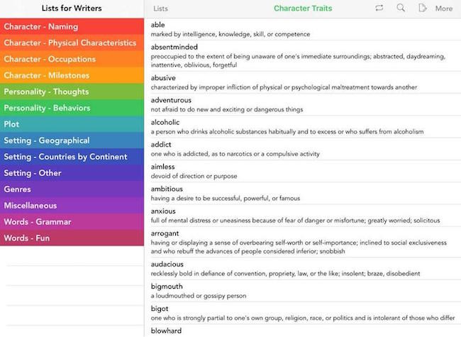 iOS - Lists for writers