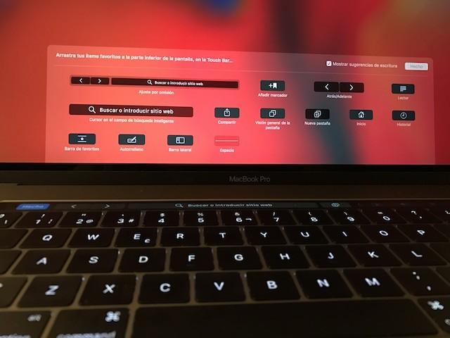 Opciones de personalización de la TouchBar para Safari