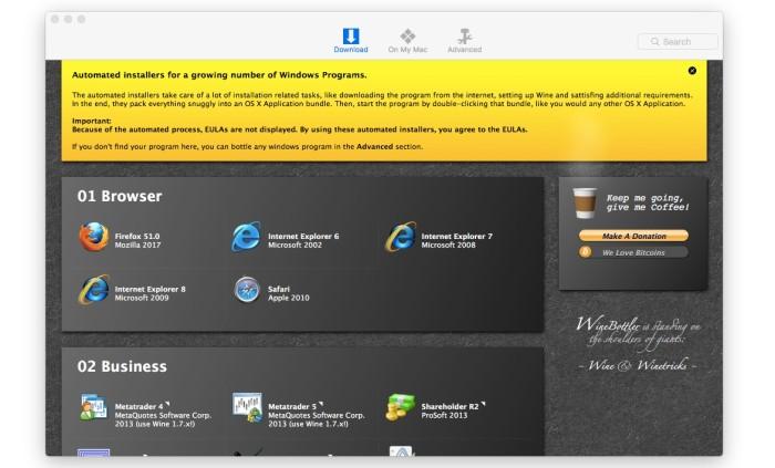 ejecutar programas de windows en macOS
