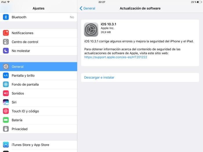 Actualización iOS 10.3.1