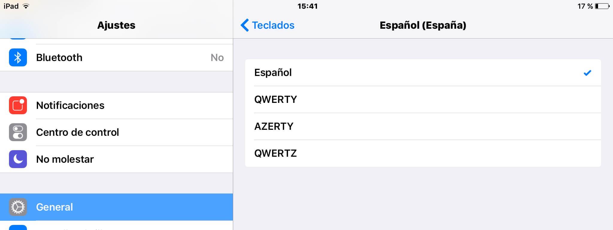 Distribuciones del teclado en iOS