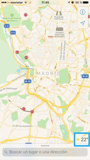 Tiempo en Apple Maps