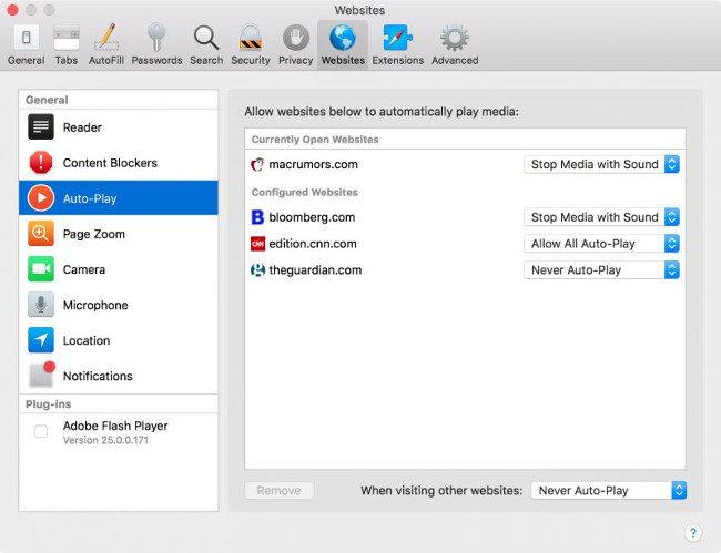 Safari en macOS High Sierra