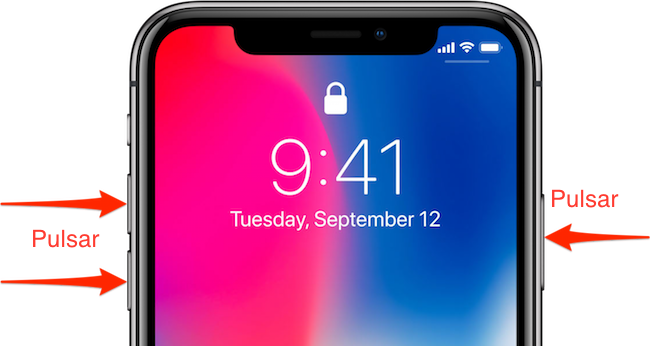 captura de pantalla en el iPhone X