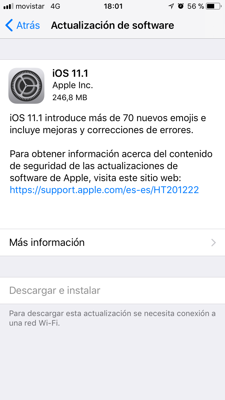 Actualización iOS 11.1