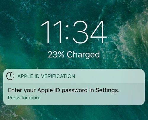 Notificación introducir contraseña ID de Apple en Ajustes