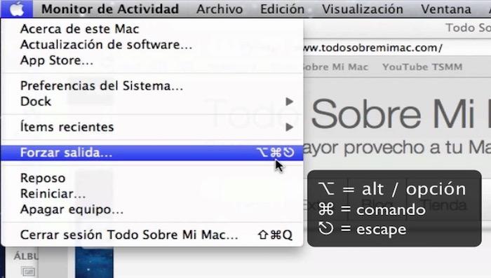 Como forzar salida de varias aplicaciones simultáneamente en macOS