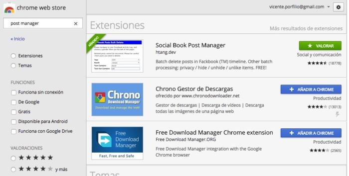 """(1) Para gestionar tu actividad de Facebook. Extensiones que responden al texto """"post manager""""."""