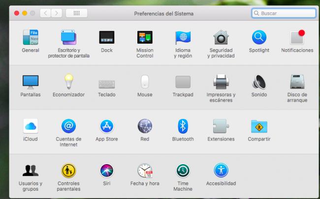Menu de preferencias del Mac