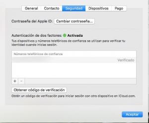 Activar verificación en dos factores iCloud