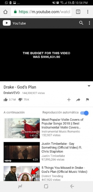 Youtube Android en Chrome
