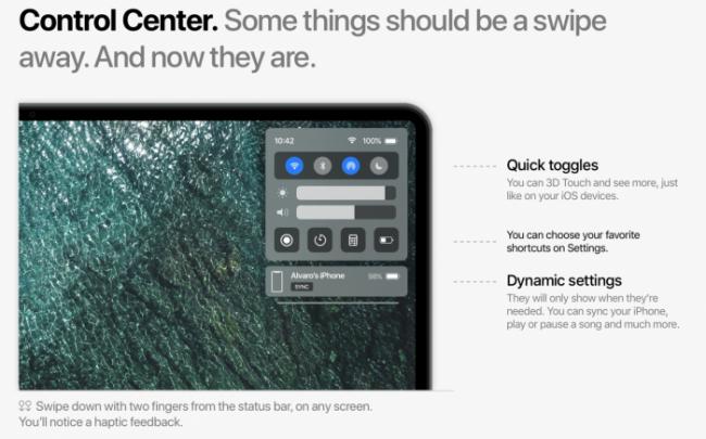 Concepto centro de control MacOS 11